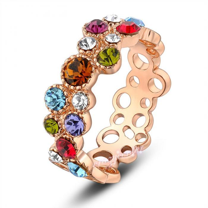 multi color Swarovski crystal cocktail ring hot sale hollow cirle ring