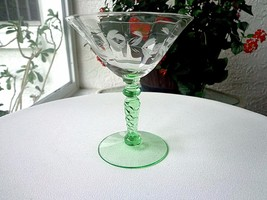 Morgantown Glass 1930 Champagne Glass Vaseline Stem # 7653 - $24.75