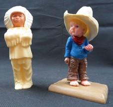 Wilton 1979 Hong Kong plastic cowboy n indian chief toys figurines - $18.00