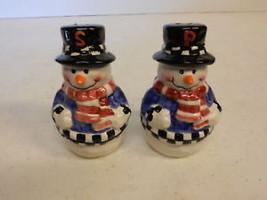 """SALT & PEPPER SHAKER SET SNOWMAN 4"""" TALL - $8.51"""