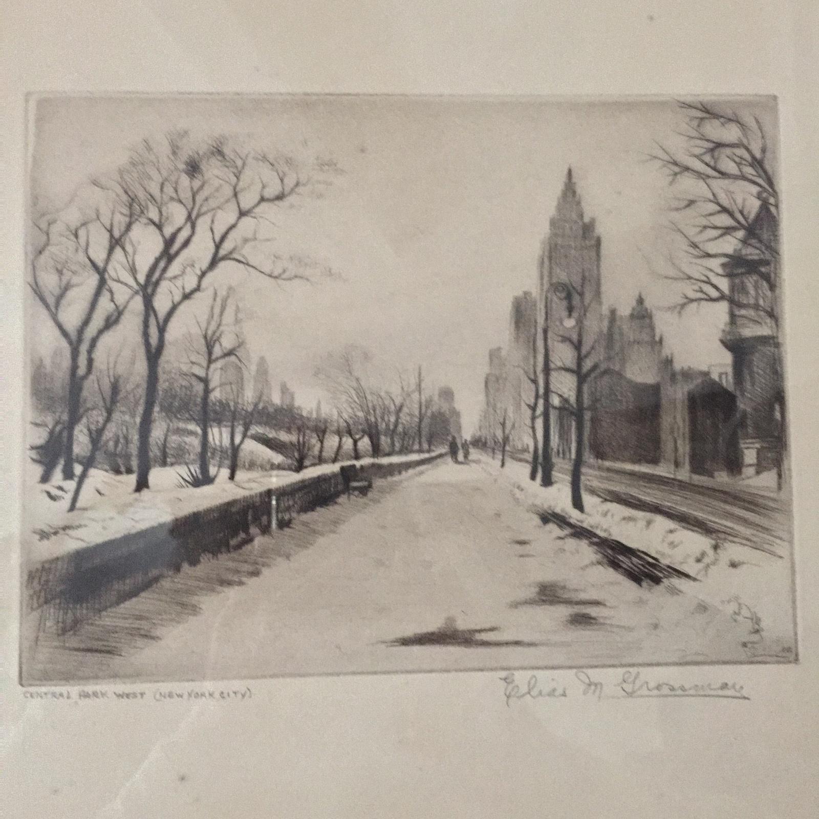 ELIAS M. GROSSMAN ETCHING CENTRAL PARK WEST, NEW YORK
