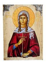 Wooden Greek Christian Orthodox Wood Icon of Saint Kyriaki The Great Martyr / P1 - $69.20