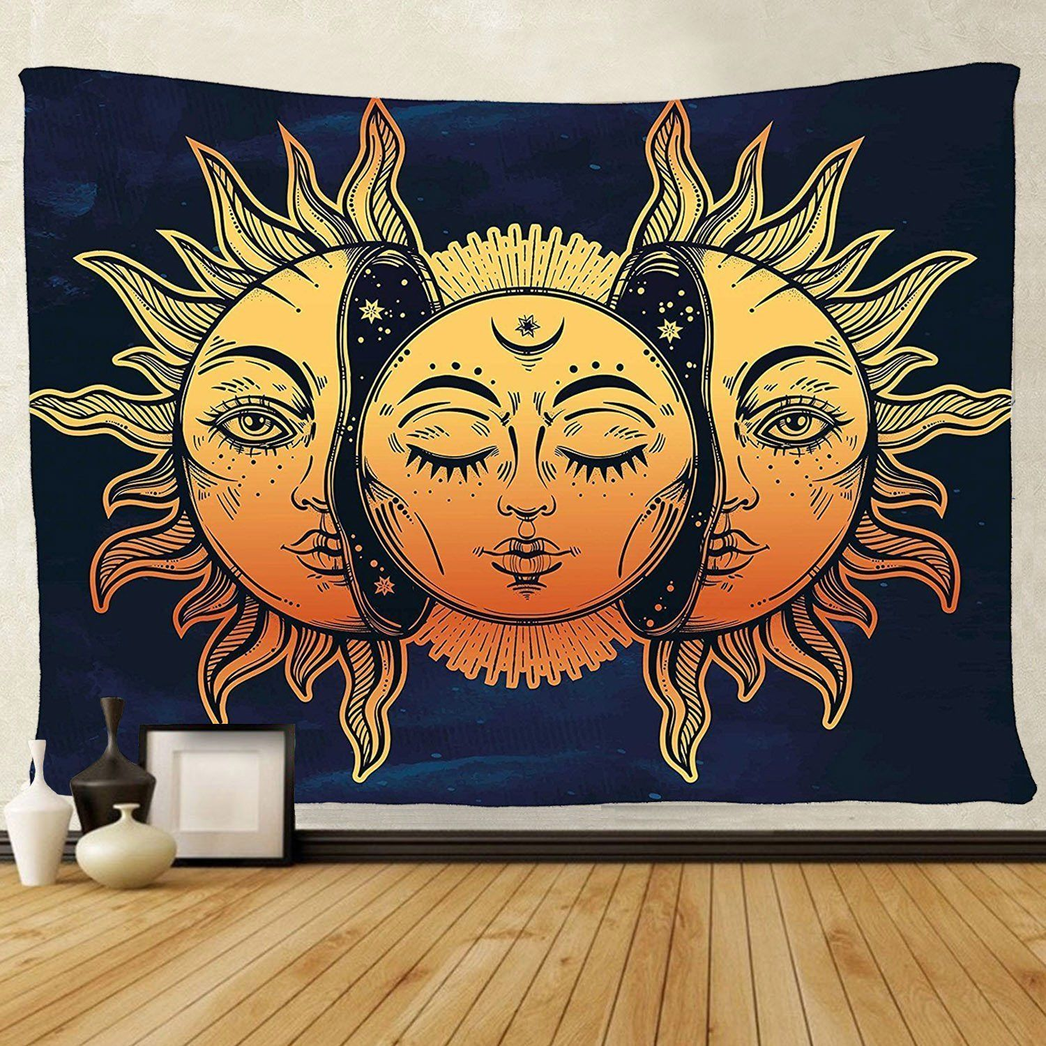 sun and moon psychedelic tapestry wall art decor 50 x 60 free 2 day shipping tapestries. Black Bedroom Furniture Sets. Home Design Ideas