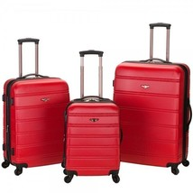 Red Luggage Set 3 Pc Rolling Spinner Hard Suitcases Lightweight Expandab... - $223.65