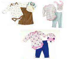 Baby Girl's 3-pc Bodysuit Set Infant BonBebe Long Sleeve Shirt Pants Bib Outfit