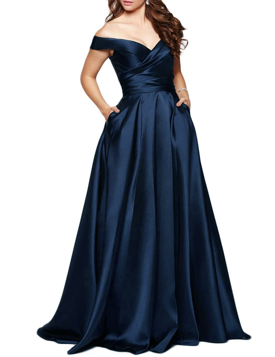 Women's Off Shoulder Long Prom Dress Pleated Evening Formal Gown with Pocket