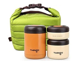 Twingo Crema Stainless Steel Vacuum Thermal insulated Bento Lunch Box Jar Set wi