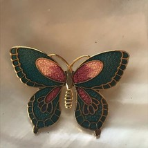 Estate Small Blue & Pink Enamel Cloisonne BUTTERFLY Moth Goldtone Pin Br... - $10.39