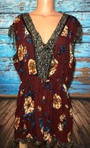 Xhilaration Womens XXL Maroon Floral Romper 2XL Shorts Sleeveless - $19.79