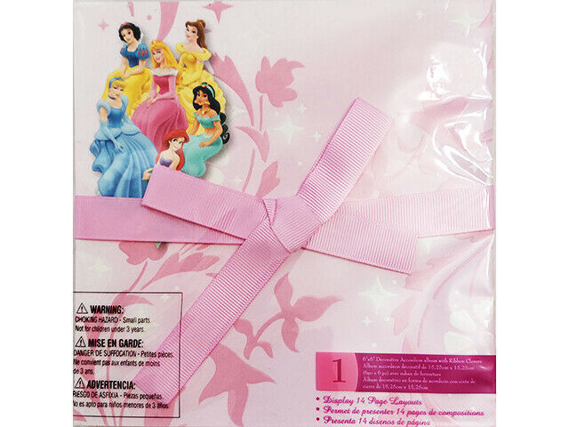 Disney Princess 6x6 Inches Decorative Accordion Photo Album w/Ribbon Closure