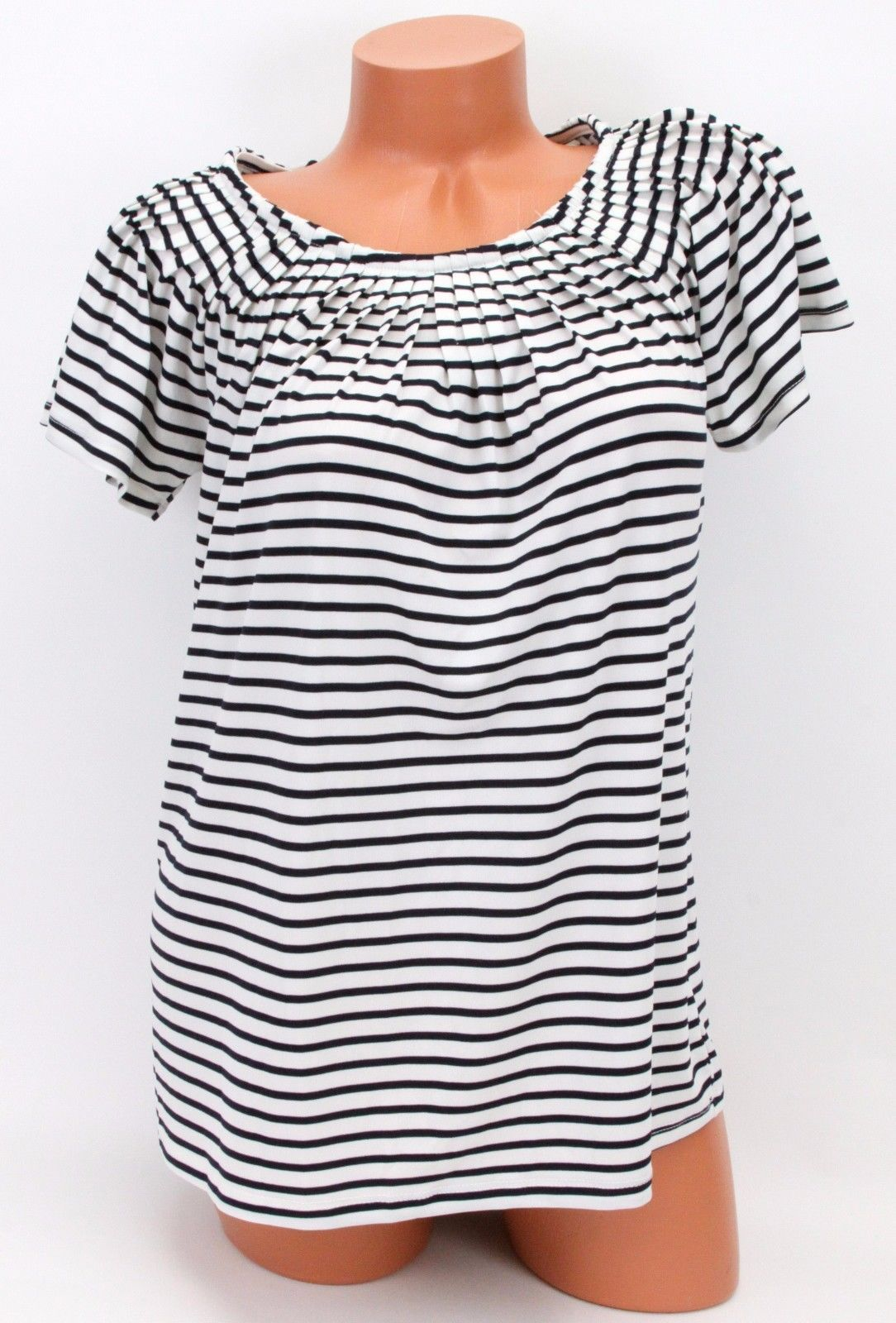 Styleco. Pleat-Neck Printed Top Black & White Stripe Small NWT