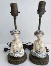 Cordey Lamp Set of 2 Porcelain Lady's Bust Figurine w/ Roses Lamps Vintage  - $69.99