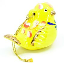 Handcrafted Painted Ceramic Yellow Canary Songbird Confetti Ornament Made Peru image 5