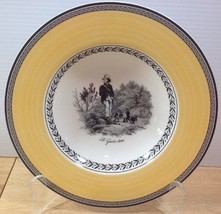 NEW Villeroy & Boch Audun Chasse Rimmed Soup Bowl Yellow Band Hunting Scene - $33.65