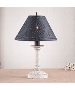 BEDSIDE TABLE LAMP with Punched Tin Shade - Distressed VINTAGE WHITE Fin... - $198.45