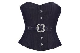 Black Denim Leather Belt Gothic Steampunk Waist Training Bustier Overbust Corset - $65.83+