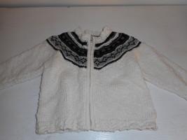 Grey Black Cream H&M LOGG zip front sweater fair isle pattern 6-9 months - $12.86