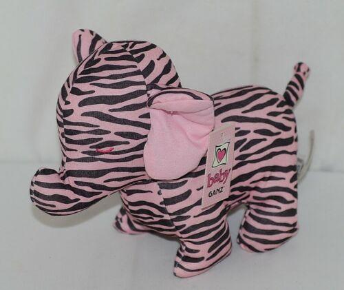 Baby Ganz Brand BG3192 Pink Black Zebra Print Ooh La La Plush Elephant