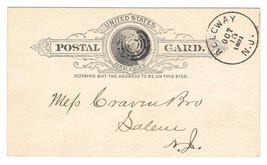 Scott UX9 Postal Card 1891 Alloway NJ Target Bullseye Cancel - $4.99