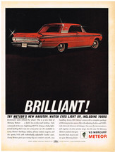 Vintage 1963 Magazine Ad Mercury Meteor Sleek & Low To Road / Old Sunny ... - $5.93