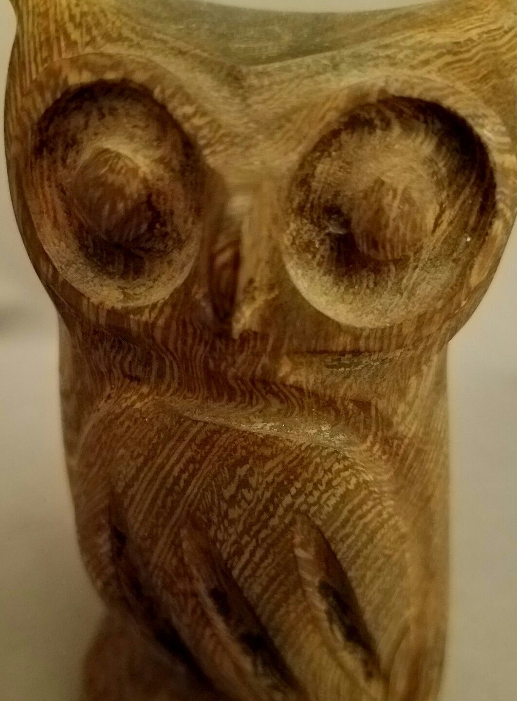 "OWL Hand Carved Hardwood 4.75"" Paperweight Collectible Figure Statue Figurine"