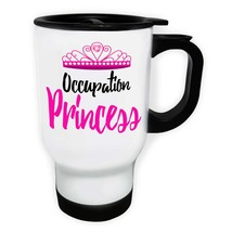 Occupation Princess Pink Crown White/Steel Travel 14oz Mug bb40t - $19.61