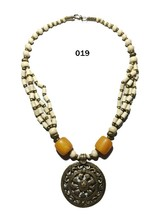 Tibetan Banjara Resin Necklace Stone Beaded Tribal Ethnic Gypsy India Je... - $17.41