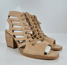 Vince Camuto Nubuck Lace-Up Heeled Sandals-Chesten Natural 12 WIDE - $44.55