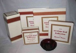 Great Lot Avon Cape Cod Ruby Red Glass Dishes Plates Dessert Plates Deca... - $77.22