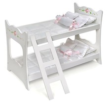 """Kids Girls White w/Pink Rose Doll Bunk Bed & Bedding for 18""""- 20"""" Inch D... - $45.95"""