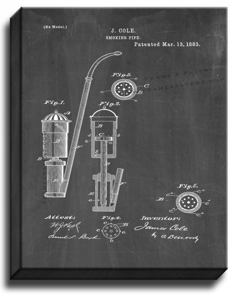 Primary image for Smoking Pipe Patent Print Chalkboard on Canvas