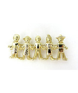 Vintage Signed AJC Children of The World Pin 2-Tone Gold Finish  New Old... - $12.90