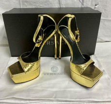 Awesome VERSACE Gold Safety Pin Stiletto Platform Shoes Sandals Size 38IT/ 7.5US - $494.99