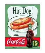 Coca Cola Bottle and Hot Dog Classic Poster Ad Tin Sign Reproduction NEW... - $5.94