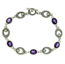 "¦925 Sterling Silver Bali Oval Amethyst Bracelet Size 7 1/4"" » B32 - $69.14 CAD"