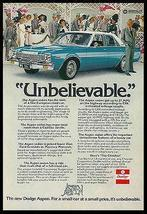 Dodge Aspen Sedan Blue White Automobile 1976 Photo Ad - $14.99