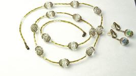 1930s Vintage Austria Crystal Filigree Glass Beads Demi Parure NECKLACE ... - $55.00