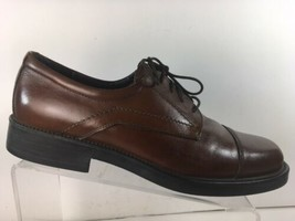 Bostonian Mens Oxfords Sz10.5 M Cap Toe Brown Leather Shoes Made In Italy - $39.87