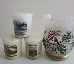 Yankee Candle Holder Winter Decor with 3 Votives Hand Painted Crackle Glass - $9.90