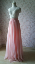 Coral Pink Tulle Skirt Bridesmaids Long Tulle Skirt High Waisted Coral Wedding image 5