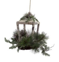 "Melrose 12"" Rustic Glittered Christmas Candle Lantern Pine Cones Jingle ... - $49.49"