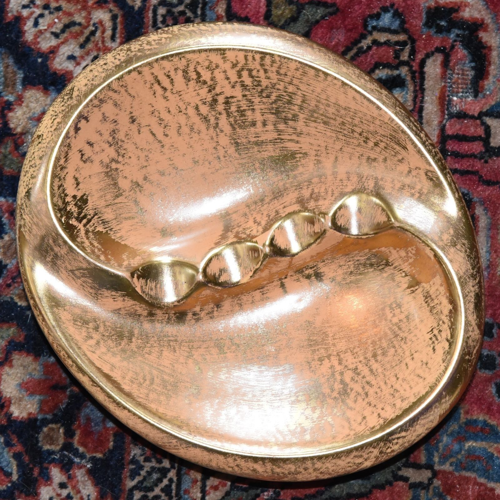 "Primary image for STANGLE ASHTRAY MATTE GOLD GILT VINTAGE CERAMIC MID CENTURY MODERN UNUSED 8""W"