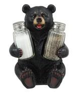 "Rustic Cuddling Black Teddy Bear Salt And Pepper Shakers Holder 7""Tall #... - $42.17"