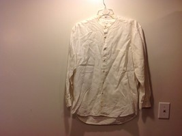 Mens Casual Cream Off White Linen Button Up Shirt by Perry Ellis Sz Large