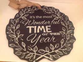 Holiday Chalkboard Wreath 2 Sided Most Wonderful Time of the Year Includ... - $37.57