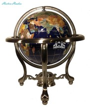 Unique Art 13-Inch Tall Table Top Blue Lapis Ocean Gemstone World Globe ... - $203.90