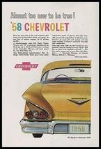 Chevrolet Impala 1958 Anniversary Gold V8 Turbo Thrust Rear View 1957 Ad - $9.99