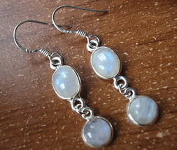 Moonstone Dangle Earrings 925 Sterling Silver Double Gem Corona Sun Jewe... - $16.82