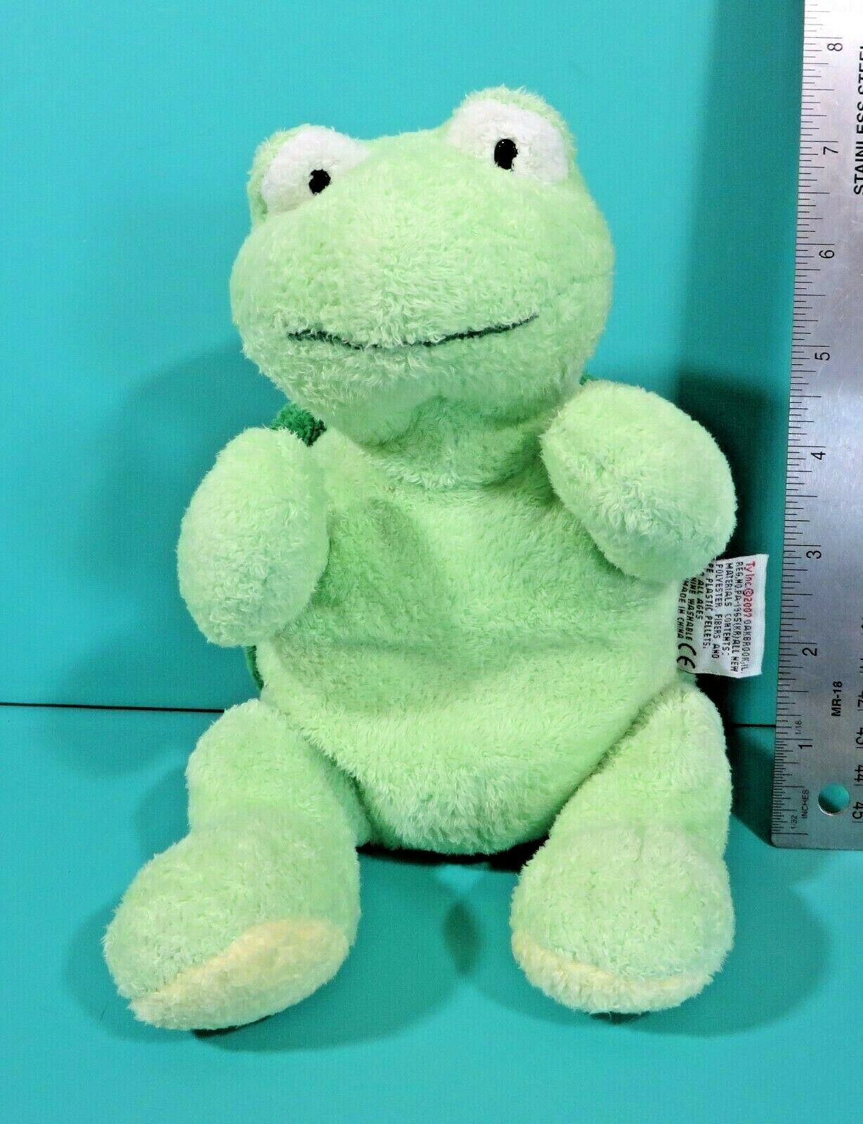 """Ty Pluffies Zips Green Shell Turtle 10"""" Plush Stuffed Animal Baby Lovey 2007"""