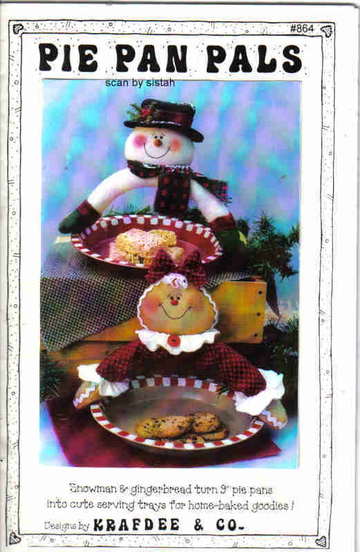 Krafdee Pie Pan Pals 864 Pattern Snowman Gingerbread doll decor Dee Longwith MC1